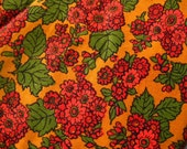 Vintage 60s 70s Floral Print Cotton Corduroy Jan River Mills Fabric Remnant 1.25 Yards
