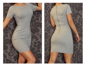 Summer Mini Dress grey stretch sexy party clothing FREE SHIPPING SALE %
