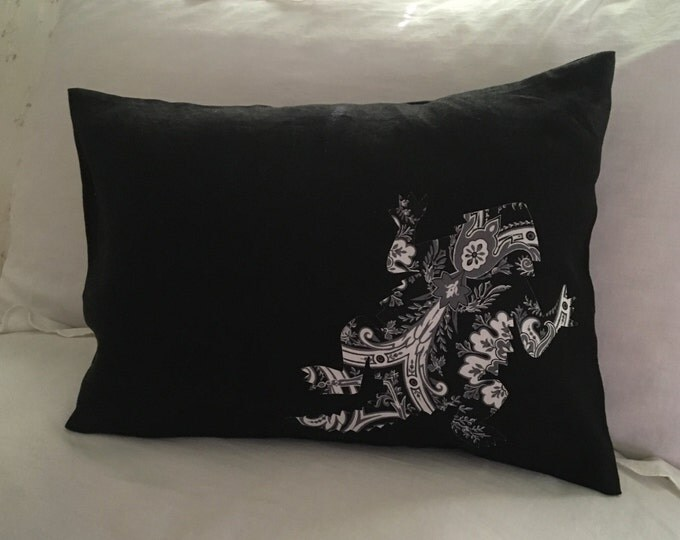 100% Washed Black French Linen TCU Horned Frog Pillow Cover Applique