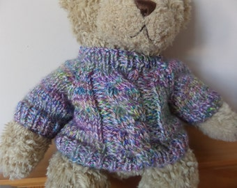 Teddy Bear Sweater - Hand knitted - Purle/Turquoise Chunky Cable design