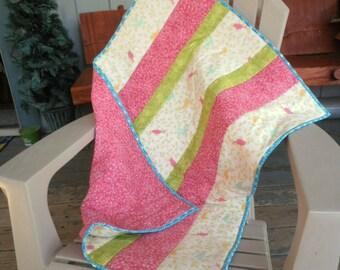 Birdie Quilt, Modern Baby Quilt, Pink White Green Quilt, Baby Girl Quilt