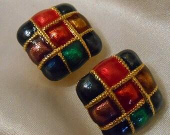 40% OFF SALE Vintage Premier Jewel Tone Enamel Retro Earrings