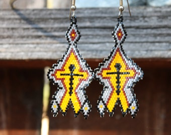 Vintage Handmade Earrings Early 1990s, Beaded, Yellow, Black, Red, Grey, From Private Collection