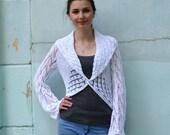 Knit shrug, bridal shrug, knit woman's bolero, white shrug, sweater, long sleeve bolero, Jacket Long Sleeves , Lace Shrug, summer shrug,