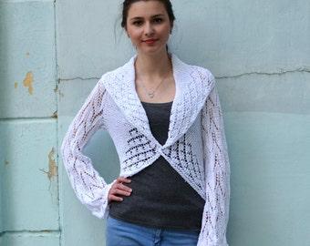 SALE! Knit bridal shrug, knit woman's bolero, white shrug, sweater, long sleeve bolero, Jacket Long Sleeves , Lace summer shrug