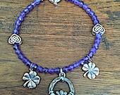 Amethyst Shamrock Bracelet