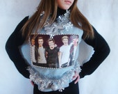 One Direction Ugly Christmas Sweater Vest .Crop Top Cute One Direction Fan Club. Blue. Tacky Not So Ugly Zayn Malik Size S M L