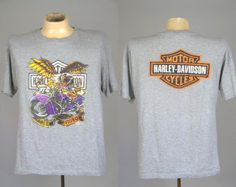 Vintage Harley Davidson Motorcycle Grey Cotton T Shirt XL