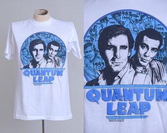 80s Quantum Leap Novelty TV Series 1989 Screen Stars White Cotton T Shirt XL