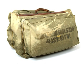 WWII Wardrobe Bag 41st Division Chuck Nason Distressed Clothing Bag Service Pack Duffle Bag