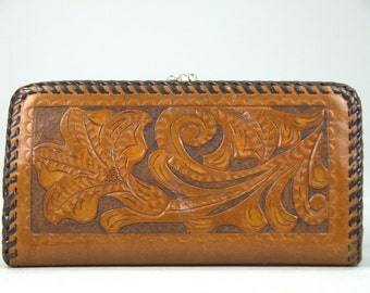 70s Tooled Leather Wallet Large Country Western Initialed Wallet
