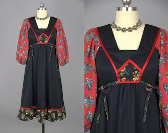 70s Young Edwardian Patchwork Side Tie Empire Waist Festival Dress