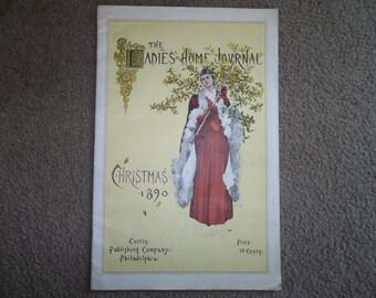 "Antique LADIES Home JOURNAL Magazine ..Epherema..."" Christmas 1890""... Advertisement...Complete Magazine...4 Pages"
