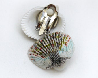 Sea shell earrings, hand painted