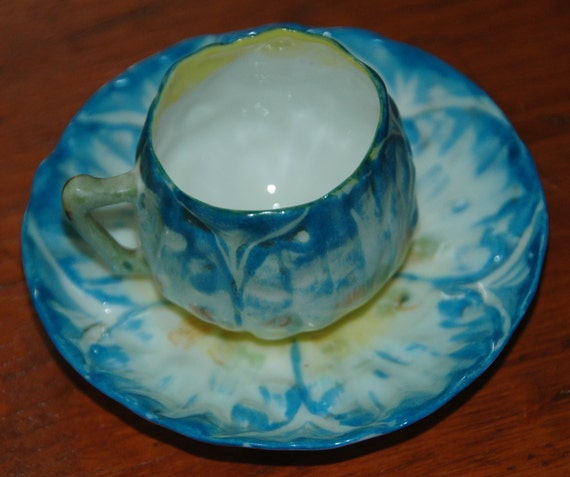 Antique HAND PAINTED DEMITASSE Cup n Saucer Beautiful  - Blue and Yellow After Dinner (Demitasse) w/ Floral Decor! -