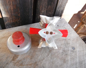 Vintage Aluminum Red Handle Cookie Cutters