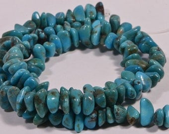 """Nevada Turquoise 16"""" Strand Beads Chips Turquoise Beads Natural Gemstone Beads Jewelry Making Supplies"""