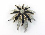 Large Vintage D'orlan Brooch. Boucher Number Gold Tone Rhinestone Flower Brooch with black enamel, Fabulous Golden Clear Rhinestone Flower.