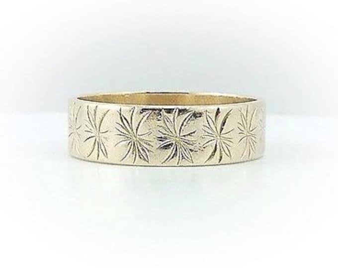 Mens Vintage Solid 10k gold wedding ring. band engraved gold ring. Wide. Estate. Stars. Mens Gold Rings with design.