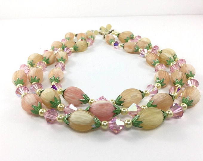 Vintage Japan 3 strand Necklace, Fruit style beads, green leaves,pink aurora borealis, yellow, pink necklace.Yellow necklace.Japan Necklace
