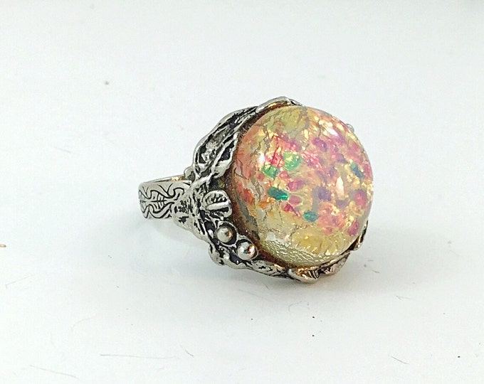 Big Vintage Ornate Faux Opal Ring. Huge Opal glass canochon, leaf silver setting. Lots of colorful light.