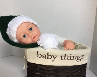 SALE - Knit Elf Hat, Baby Hat - Deep Green and White - Baby Christmas Photo Prop