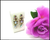 Long AB Rhinestone Earrings, Red and Blue Green Aurora Borealis, Rockabilly Style Bridesmaid Earrings Pageant Maid of Honor, Gift For Her