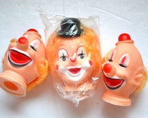 "Vintage 70s  Clown doll head 3 1/4"" and 3 1/2 Collectible Vintage doll accessories black or red hat red nose heads Craft Supplies NOS NEW"