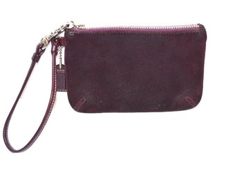 Vintage leather burgundy Coach wallet make up bag