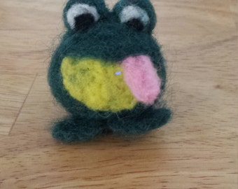 Funny felted frog