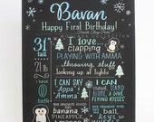 "First birthday chalkboard style custom ink drawing on 15""x20"" art board, the original Favorite Things Poster™ [Bavan]"