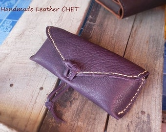 Leather glasses case / soft purple cow leather and white stitched
