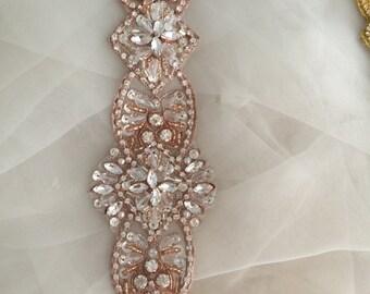 Luxury Rhinestone Applique in Silver Rose Gold and Gold for Wedding Belt, Bridal Sash, Wedding Gown Decor
