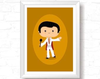 Elvis - Printable Original Illustration, Instant Download, Home Decor, Wall Art, T-shirt graphic, Art Print, Poster Design