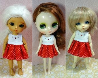 White/red polka dot dress for Lati Yellow/ Middie Blythe/ Pukifee doll