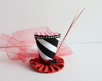 Mini Top Hat - Mad Hatter Hat - Pageant Hat - Tea Party Mini Hat - Alice in Wonderland Hat - Cake Smash Prop