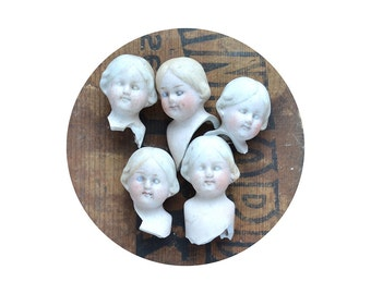 "ONE Small 1"" vintage doll head, doll parts, antique doll, assemblage supply, dug up, frozen charlotte, from Elizabeth Rosen"