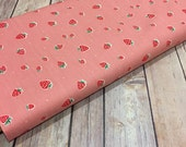 Every Day Party Strawberries- Birch Organic one yard increments cotton, pink, red, little fruit, birthday party, little girl party,