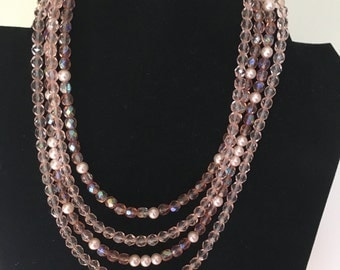Pink Champagne Crystals and Pearls