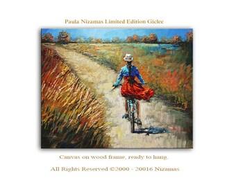 Girl on her Bicycle - Abstract Art Giclee on canvas home interior DecorPaula Nizamas Ready to hang