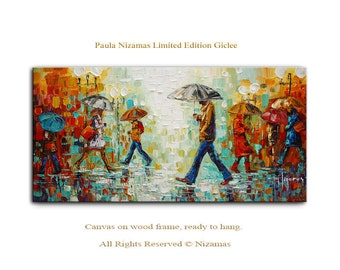 Raining - Abstract Art Giclee on canvas home interior Decor Paula Nizamas Ready to hang