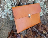 Genuine Leather Portfolio with Flap Handmade - Made in the USA