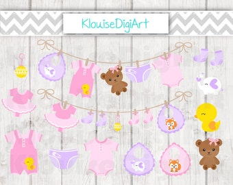 Pink and Purple Baby Girl Clothes Laundry Line Digital Clipart Graphics for Personal and Small Commercial Use (C026)