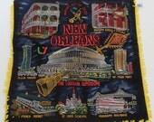 Vintage New Orleans Black Velvet Souvenir Pillowcase Gold Fringe Mid-Century Boho Retro