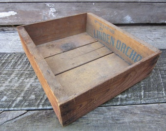 Vintage Wood Box Hand Made from Fruit Crates Old Box Antique Primitive Wooden Box Rustic Aged old Patina Display