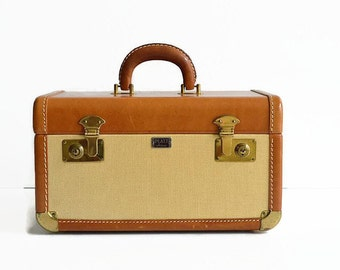 vintage tweed leather train case with key makeup Platt Airess 1940s luggage