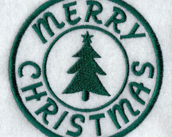 Merry Christmas Applique Embroidered Patch , Sew or Iron on