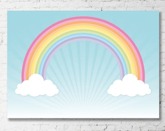 "RAINBOW Sky Backdrop Banner Artwork - 60""w x 40""h - YOU PRINT - Printable File - Rainbow Birthday Party - Instant Download listing."