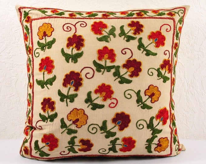 Handmade Suzani Pillow Cover USP104, Suzani Pillow, Suzani Throw, Suzani, Decorative pillows, Accent pillows