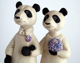 panda bear couple wedding cake topper - bride and groom - animal husband and wife - ceramic